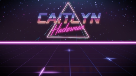 chrome first name Caitlyn with hackerman subtitle in synthwave retro style with triangle in blue violet and black colors