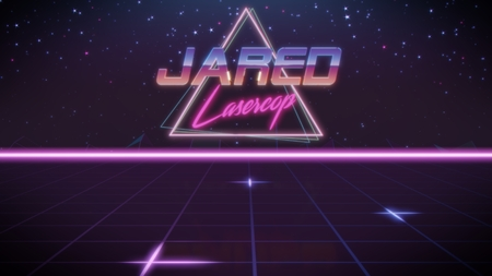 chrome first name Jared with lasercop subtitle in synthwave retro style with triangle in blue violet and black colors