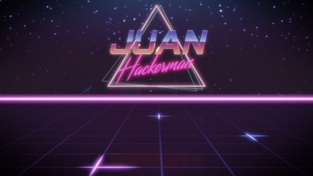 chrome first name Juan with hackerman subtitle in synthwave retro style with triangle in blue violet and black colors Stock fotó