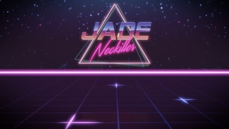 chrome first name Jade with neokiller subtitle in synthwave retro style with triangle in blue violet and black colors