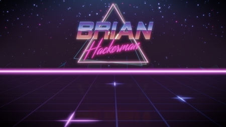 chrome first name Brian with hackerman subtitle in synthwave retro style with triangle in blue violet and black colors