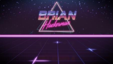 Cromo nombre Brian con subtítulo de hackerman en estilo retro synthwave con triángulo en colores azul violeta y negro