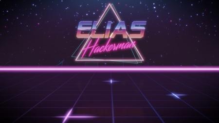 nombre de cromo Elias con subtítulo de hackerman en estilo retro synthwave con triángulo en colores azul violeta y negro