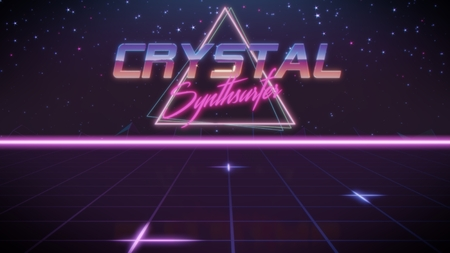 chrome first name Crystal with synthsurfer subtitle in synthwave retro style with triangle in blue violet and black colors Stock fotó