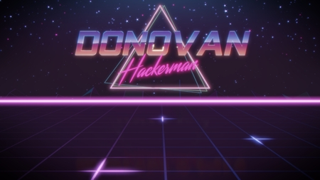 chrome first name Donovan with hackerman subtitle in synthwave retro style with triangle in blue violet and black colors