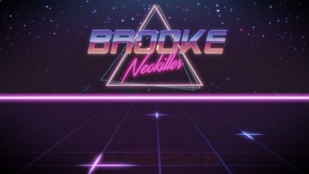 chrome first name Brooke with neokiller subtitle in synthwave retro style with triangle in blue violet and black colors