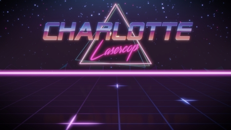 chrome first name Charlotte with lasercop subtitle in synthwave retro style with triangle in blue violet and black colors