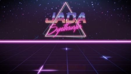 chrome first name Jada with synthsurfer subtitle in synthwave retro style with triangle in blue violet and black colors