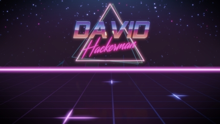 chrome first name David with hackerman subtitle in synthwave retro style with triangle in blue violet and black colors Stock fotó