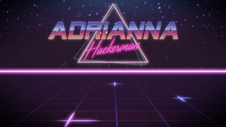 chrome first name Adrianna with hackerman subtitle in synthwave retro style with triangle in blue violet and black colors