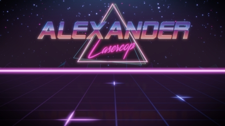 chrome first name Alexander with lasercop subtitle in synthwave retro style with triangle in blue violet and black colors