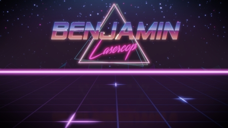 chrome first name Benjamin with lasercop subtitle in synthwave retro style with triangle in blue violet and black colors Stock fotó