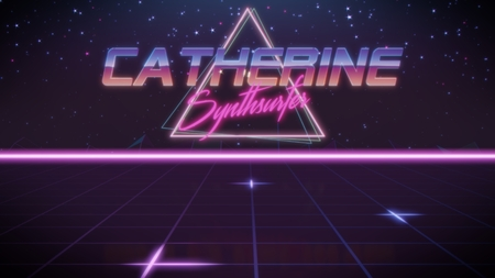 chrome first name Catherine with synthsurfer subtitle in synthwave retro style with triangle in blue violet and black colors Stock fotó