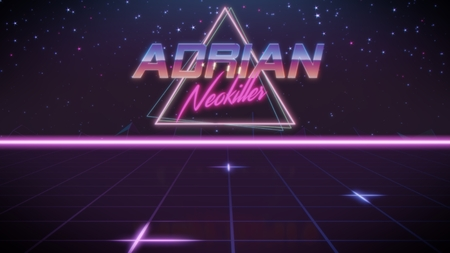 chrome first name Adrian with neokiller subtitle in synthwave retro style with triangle in blue violet and black colors