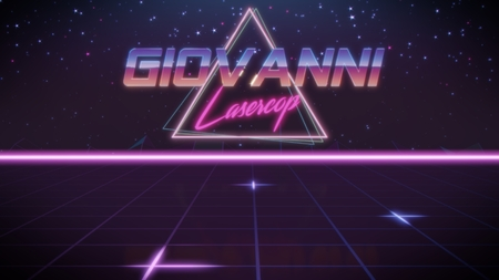 chrome first name Giovanni with lasercop subtitle in synthwave retro style with triangle in blue violet and black colors