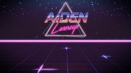nombre de cromo Aiden con subtítulo de lasercop en estilo retro synthwave con triángulo en colores azul violeta y negro