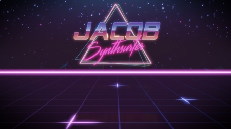 chrome first name Jacob with synthsurfer subtitle in synthwave retro style with triangle in blue violet and black colors Stock fotó