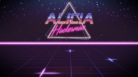 chrome first name Alicia with hackerman subtitle in synthwave retro style with triangle in blue violet and black colors Foto de archivo - 122002361