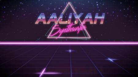 primer nombre Aaliyah en estilo synthwave con triángulo en colores azul violeta y negro