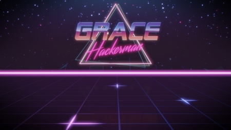 chrome first name Grace with hackerman subtitle in synthwave retro style with triangle in blue violet and black colors