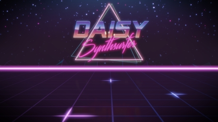chrome first name Daisy with synthsurfer subtitle in synthwave retro style with triangle in blue violet and black colors