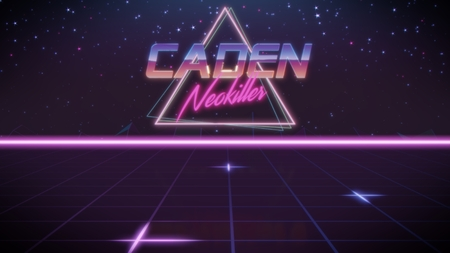 chrome first name Caden with neokiller subtitle in synthwave retro style with triangle in blue violet and black colors