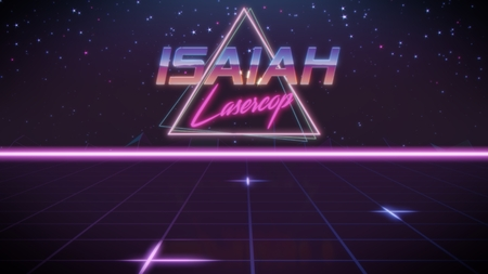 chrome first name Isaiah with lasercop subtitle in synthwave retro style with triangle in blue violet and black colors