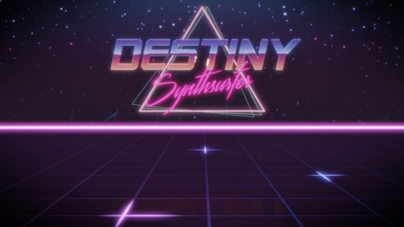 chrome first name Destiny with synthsurfer subtitle in synthwave retro style with triangle in blue violet and black colors