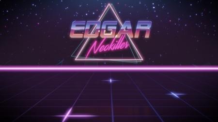 Cromo nombre Edgar con subtítulo neokiller en estilo retro synthwave con triángulo en colores azul violeta y negro