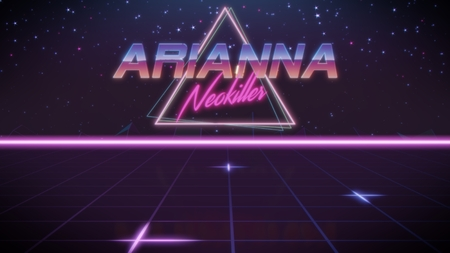 chrome first name Arianna with neokiller subtitle in synthwave retro style with triangle in blue violet and black colors