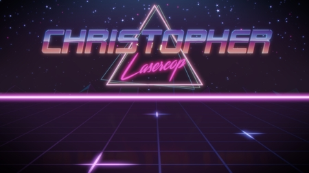 chrome first name Christopher with lasercop subtitle in synthwave retro style with triangle in blue violet and black colors Stock fotó