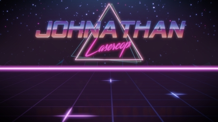 chrome first name Johnathan with lasercop subtitle in synthwave retro style with triangle in blue violet and black colors