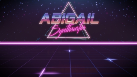 chrome first name Abigail with synthsurfer subtitle in synthwave retro style with triangle in blue violet and black colors