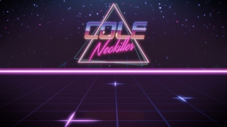 chrome first name Cole with neokiller subtitle in synthwave retro style with triangle in blue violet and black colors