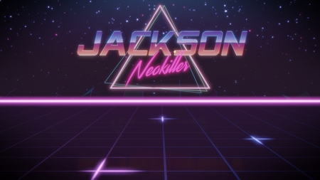 chrome first name Jackson with neokiller subtitle in synthwave retro style with triangle in blue violet and black colors