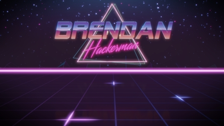 chrome first name Brendan with hackerman subtitle in synthwave retro style with triangle in blue violet and black colors