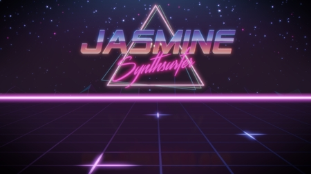 chrome first name Jasmine with synthsurfer subtitle in synthwave retro style with triangle in blue violet and black colors Stock fotó