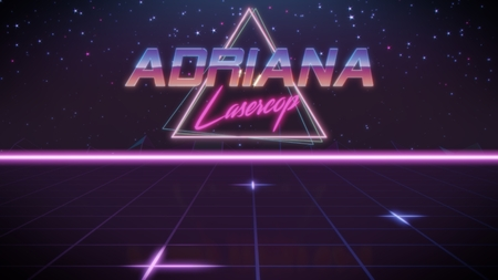 chrome first name Adriana with lasercop subtitle in synthwave retro style with triangle in blue violet and black colors Foto de archivo
