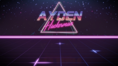 chrome first name Ayden with hackerman subtitle in synthwave retro style with triangle in blue violet and black colors