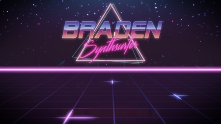 chrome first name Braden with synthsurfer subtitle in synthwave retro style with triangle in blue violet and black colors Stock fotó