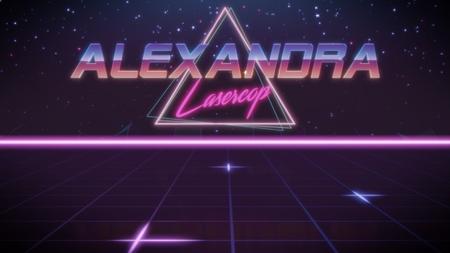 Cromo nombre Alexandra con subtítulo de lasercop en estilo retro synthwave con triángulo en colores azul violeta y negro