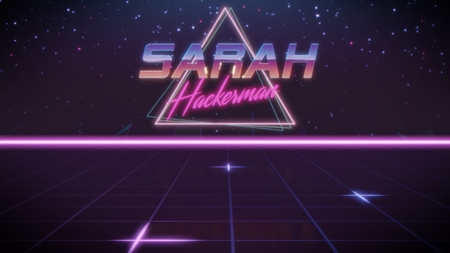 chrome first name Sarah with hackerman subtitle in synthwave retro style with triangle in blue violet and black colors
