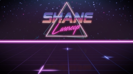 chrome first name Shane with lasercop subtitle in synthwave retro style with triangle in blue violet and black colors