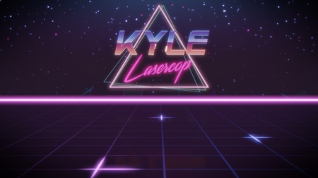chrome first name Kyle with lasercop subtitle in synthwave retro style with triangle in blue violet and black colors