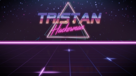 chrome first name Tristan with hackerman subtitle in synthwave retro style with triangle in blue violet and black colors Banco de Imagens