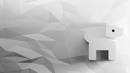 3d icon of dog on low-poly abstract triangular mosaic on grayscale background Reklamní fotografie