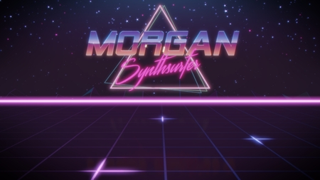 chrome first name Morgan with synthsurfer subtitle in synthwave retro style with triangle in blue violet and black colors Foto de archivo