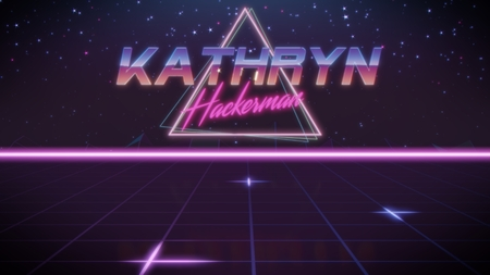 chrome first name Kathryn with hackerman subtitle in synthwave retro style with triangle in blue violet and black colors Archivio Fotografico - 122001042