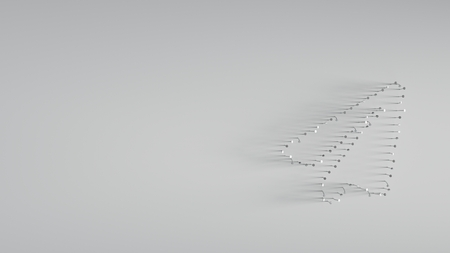 various of metal nails in shape of paper plane on gray background with long shadows directed to right Фото со стока