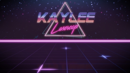 chrome first name Kaylee with lasercop subtitle in synthwave retro style with triangle in blue violet and black colors